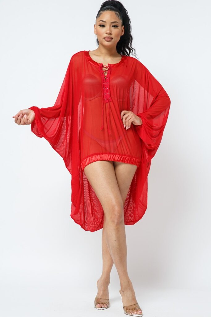 Beach Anyone Coverup/Top Red